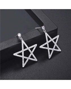 Cubic Zirconia Pentagram Design Platinum Plated Earrings