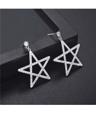 Cubic Zirconia Pentagram Design Platinum Plated Earrings