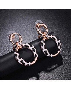 Leopard Prints Design Hoop Fashion 18k Rose Gold Earrings