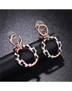 Leopard Prints Design Hoop Fashion 18k Rose Gold Earrings