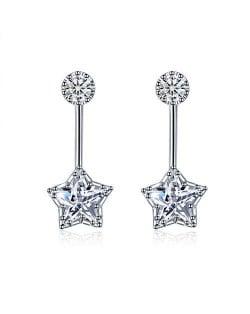 Cubic Zirconia Shining Star Fashion Platinum Plated Women Earrings