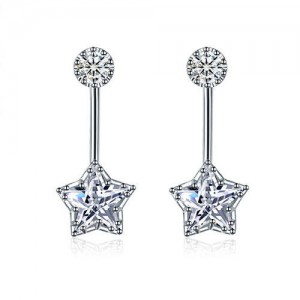 Cubic Zirconia Shining Star Fashion Platinum Plated Women Earrings