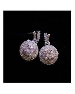 Cubic Zirconia Embellished 18k Platinum Plated Women Earrings