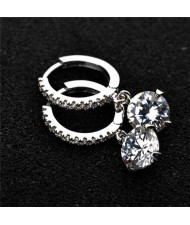 Dangling Cubic Zirconia Bridal Fashion 18k Platinum Plated Earrings