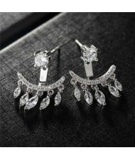 Waterdrops Tassel Design Cubic Zirconia 18k Platinum Plated Women Earrings
