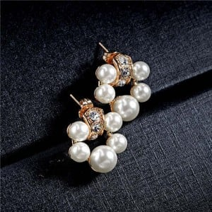 Pearl Fashion Floral Hoop Design Women Rose Gold Earrings