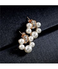 Pearl Fashion Floral Hoop Design Women Rose Gold Earrings