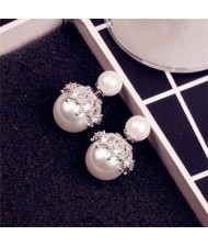 Cubic Zirconia Inlaid Hollow Engraving Design Pearl Fashion 18k Platinum Plated Women Earrings