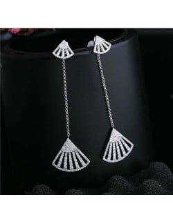 Fan Shape Tassel Design 18k Platinum Plated Women Earrings