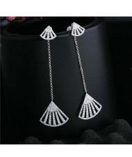 Fan Shape Tassel Design 18k Platinum Plated Women Earrings