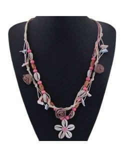 Seashell Flower Bohemian Fashion Summer Style Women Statement Necklace - Rose