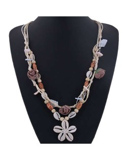 Seashell Flower Bohemian Fashion Summer Style Women Statement Necklace - White