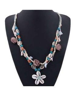 Seashell Flower Bohemian Fashion Summer Style Women Statement Necklace - Blue