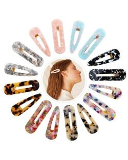 (12pcs) Amber Texture Acrylic Baby Girl Hair Clip Set