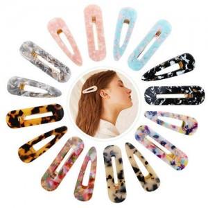(12pcs) Amber Texture Acrylic Baby Girl Hair Clip Set