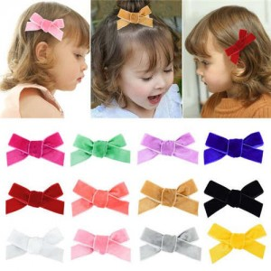 (12pcs) Velvet Bowknot Design Baby Gril Hair Clip Set