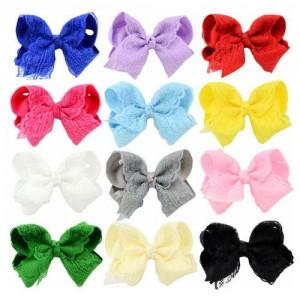 (12pcs) Floral Lace Bowknot Toddler/ Baby Girl Hair Clip Set