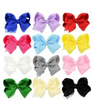 (12pcs) Floral Lace Bowknot Toddler/ Baby Girl Hair Clip Set