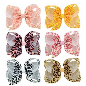(6pcs) Leopard Prints Bowknot Design Baby Girl Hair Clip Set