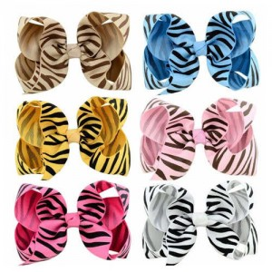 (6pcs) Zebra Stripes Candy Color Cloth Baby Girl Hair Clip Set