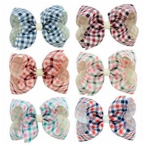 (6pcs) British Style Lattice Pattern Baby Hair Clip Set