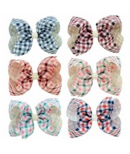 (6pcs) British Style Lattice Pattern Baby Hair Clip Set