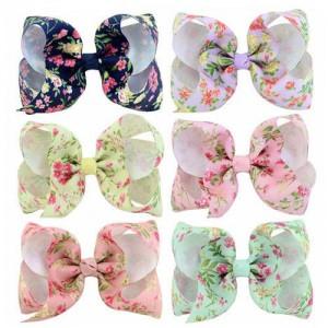 (6pcs) Flowers Prints Handmade Bowknot Baby Girl Hair Clip Set