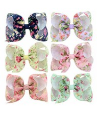 (6pcs) Flowers Prints Handmade Bowknot Baby Girl Hair Clip Set