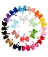 (20pcs) Princess Style Bowknot Design Baby Girl Hair Clip Set