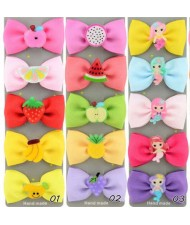 (15 pcs) Cute Cartoon Elements Cloth Bowknot Baby Hair Clip Set