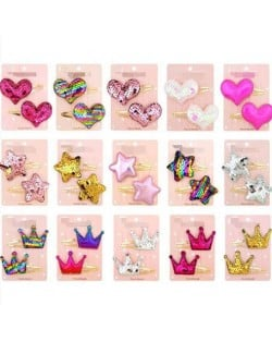 (15 pairs) Shining Stars Hearts Crowns Baby/ Toddler Hair Clip Set