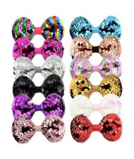 (12 pcs) Paillette Bowknot Shape Baby Hair Clip Set