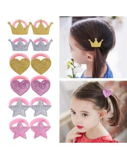 (6 pairs) Crown Heart and Star Cute Design Baby Girl Hair Band Set