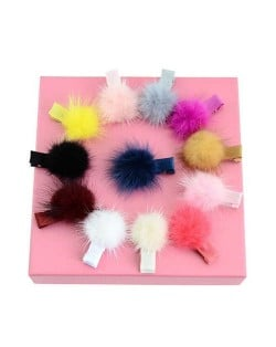 (12 pcs) Fluffy Ball Decorated Baby Girl Hair Clip Set