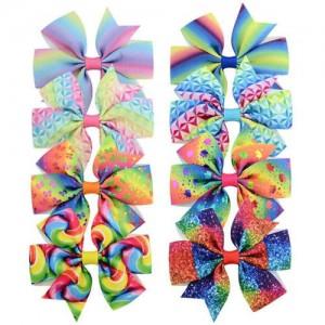 (8 pcs) Multicolor Design Bowknot Baby Hair Clip Set