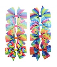 (8 pcs) Multicolor Design Bowknot Baby Hair Clip Set