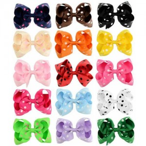 (15 pcs) Polka Dot Bowknot Design Baby Girl Hair Clip Set