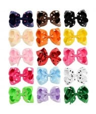 (15 pcs) Polka Dot Bowknot Design Baby Girl Hair Clip Set