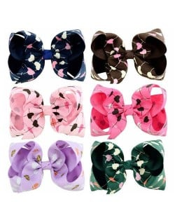 (6 pcs) Heart Prints Bowknot Design Baby Girl Hair Clip Set