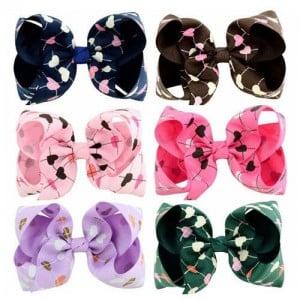 (6 pcs) Heart Prints Bowknot Design Baby Girl Hair Clip Set