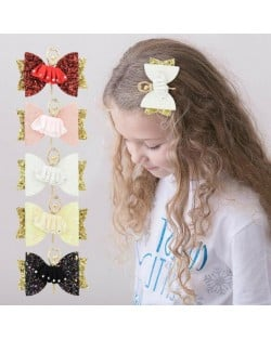 (5 pcs) Ballet Dancer Cloth Bowknot Design Baby Girl Hair Clip Set