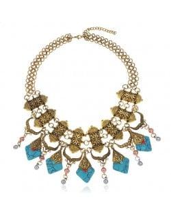 Artificial Turquoise Embellished Vintage Design Bold Fashion Women Statement Bib Necklace - Golden