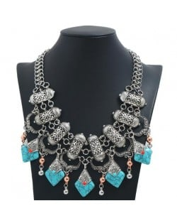 Artificial Turquoise Embellished Vintage Design Bold Fashion Women Statement Bib Necklace - Silver
