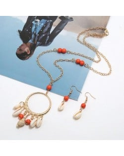 Turquoise Beads Decorated Seashell Tassel Hoop Pendant Design Women Fashion Necklace and Earrings Set - Red