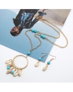 Turquoise Beads Decorated Seashell Tassel Hoop Pendant Design Women Fashion Necklace and Earrings Set - Blue