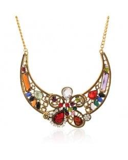 Assorted Colorful Gems Embellished Hollow Floral Arch Design Women Bib Statement Necklace