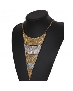Vintage Engraving Design Triangle Bold Fashion Women Bib Necklace - Golden and Silver