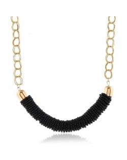Bohemian Fashion Mini-beads Arch Pendant Bold Chain Women Statement Necklace - Black