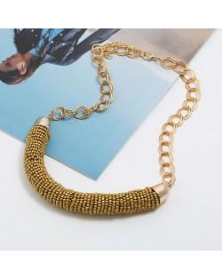 Bohemian Fashion Mini-beads Arch Pendant Bold Chain Women Statement Necklace - Golden