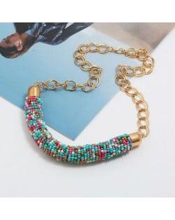 Bohemian Fashion Mini-beads Arch Pendant Bold Chain Women Statement Necklace - Multicolor